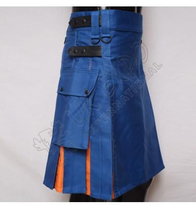 Sky Blue and Orange Hybrid Utility Kilt Attached Pockets