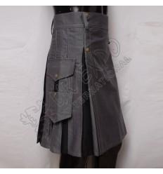 Grey and Black Hybrid Utility Kilt Attached Patch Pockets