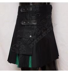 Black and Green Ladies Hybrid Kilt With Pockets