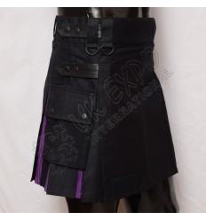 Black and Purple Ladies Hybrid Utility Kilt