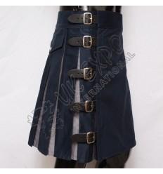 Blue and Grey Hybrid Utility Kilt Back Side 2 Pockets