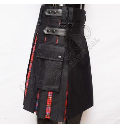 Hybrid Macpherson Tartan Box Pleat Utility Kilt Attached pockets