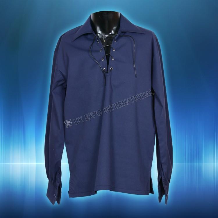 Brand new Scottish Highland Jacobite Jacobean mens Cream Ghillie Shirt for kilt