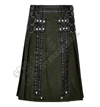 Military Green Roman Soldiers Snap and zipper closing Utility kilts