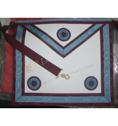 Masonic Bag White Leather Skyblue and Marron Robbon 3 Rosetts