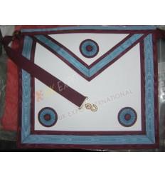 Masonic Bag White Leather Skyblue and Marron Robbon 3 Rosetts