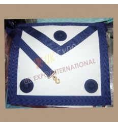 Masonic Bag White Leather NavyBlue Robbon 3 Rosetts	  Masonic Bag White Leather NavyBlue Robbon 3 Rosetts