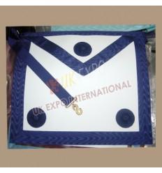 Masonic Bag White Leather NavyBlue Robbon 3 Rosetts  Masonic Bag White Leather NavyBlue Robbon 3 Rosetts