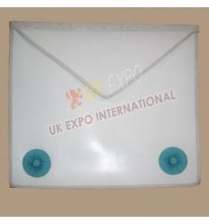 Masonic Bag White Leather Simple with 2 Skypblue Rosetts