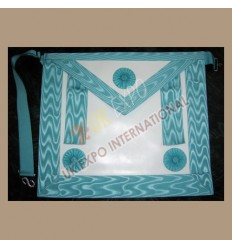 Masonic Bag White Leather Skyblue Color Ribbon 3 rosetts