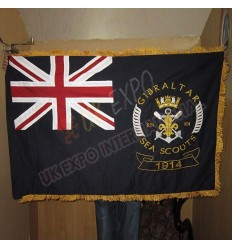 Gibraltar sear scouts 1914 Great Britain Large Flag Double Embroidery and Double Fabric with Gold Fringe