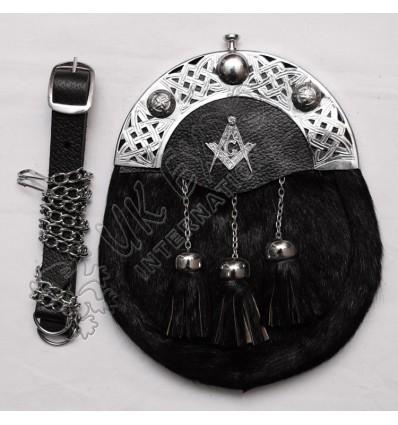 Seal Skin Black Sporran with Masonic Badge on leather Backing