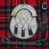 White Cow Skin 3 Cross Leather Tessels Masonic On front
