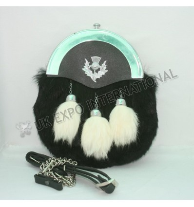 Black Fur and White Rabbit tessles with Plain Cantle and thistle on front