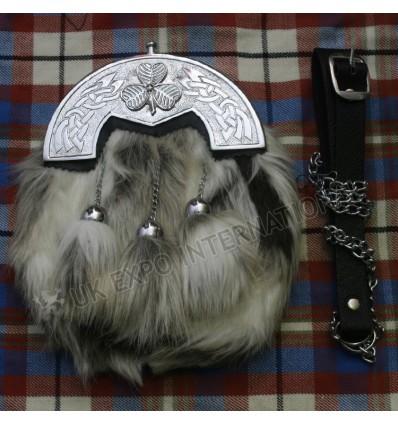 Artificial multi color fur with Celtic cantel dress sporran