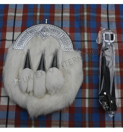White Rabbit fur with 3 Tassels