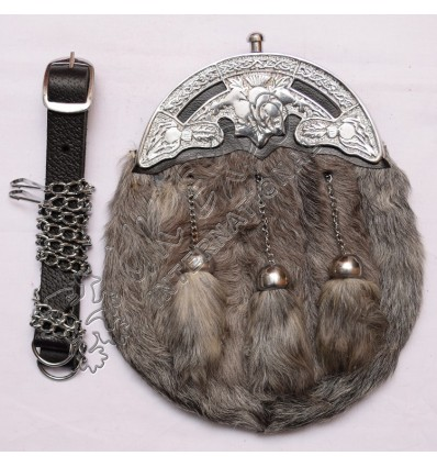 Gray Rabbit Fur Sporran with Celtic Cantle