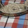Unique engraving along sides of cantle on Black Rabbit Fur Sporran