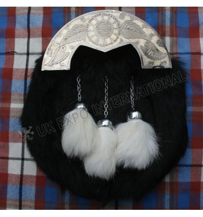 Silver Cantle Antique Finish with Black Rabbit Fur Sporran