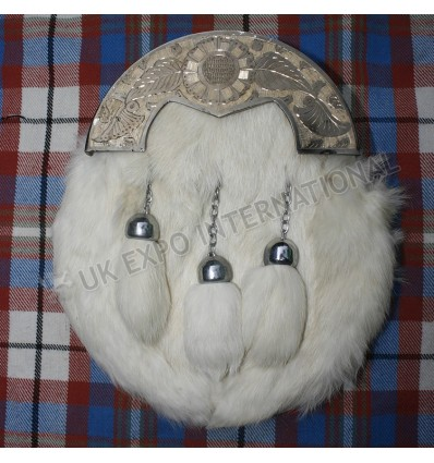 Silver Cantle Antique Finish with white Rabbit Fur Sporran