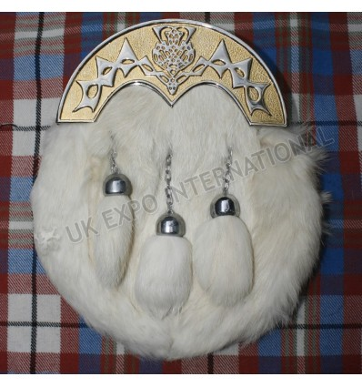 Scottish Thistle Gold Cantle with white Rabbit Fur Sporran