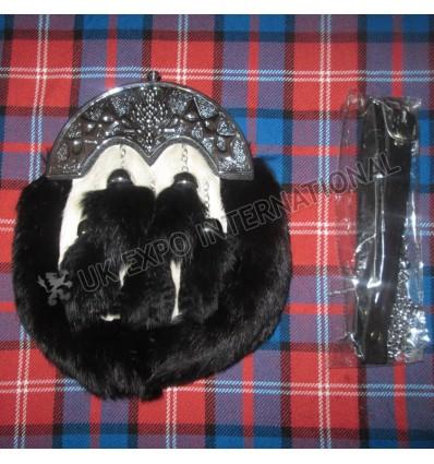 Scottish Full dress Rabbit Fur Sporran 5 black tessels with scottish cantle