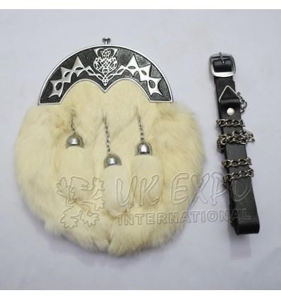 White Rabbit Fur Full Dress Sporrans Scottish Flower Black Color Filled Cantle