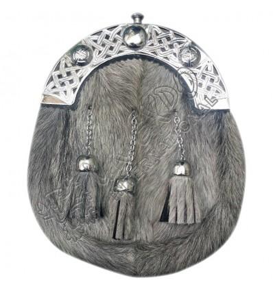 Celtic Sporran Grey Bovine Celtic Cantle Scottish Kilt Sporran