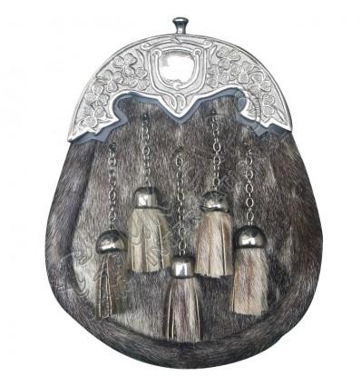 Mens Kilt Sporran Seal Skin Irish Shamrock Cantle Antique Scottish Kilt Sporran
