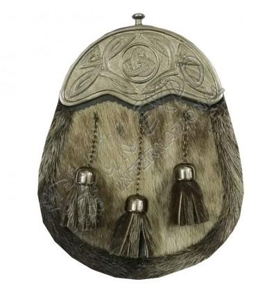 Mens Full Dress Kilt Sporran Formal Seal Skin Celtic Cantle Antique Kilt Sporran