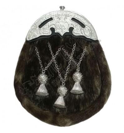 Mens Full Dress Kilt Sporran Formal Seal Skin Thistle Cantle Scottish Sporrans