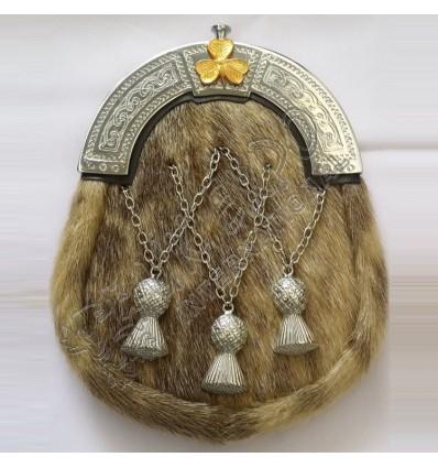 New Full Dress Kilt Sporran Formal Seal Skin Celtic Cantle Chrome Kilt Sporrans