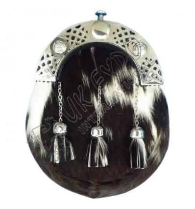 Mens Full Dress Kilt Sporran White & Black Bovine Celtic Cantle Kilt Sporran