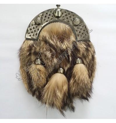 Full Dress Kilt Sporran Fox Fur Celtic Cantle Antique Scottish Kilt Sporrans