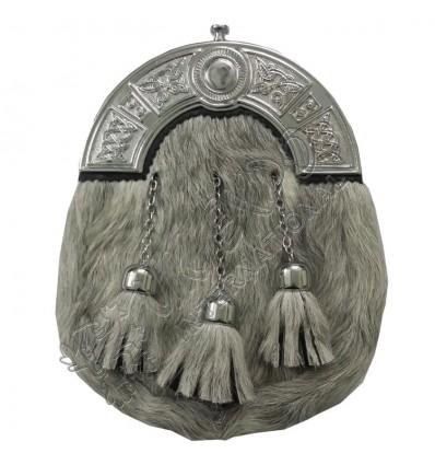 Scottish Full Dress Kilt Sporran Grey Bovine Celtic Cantle Leather Kilt Sporrans