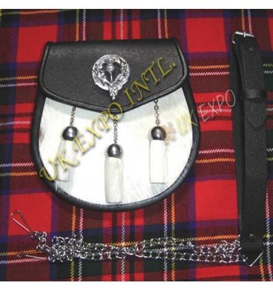 Clan Thitle Badge Goat Skin Leather Sporran