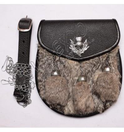 Gray Color Rabbit Fur Leather Sporran