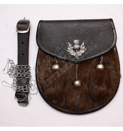 Brown Color Rabbit Fur Leather Sporran