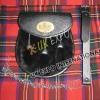Black Color Rabbit Fur Leather Sporran