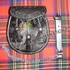 Black Fur with 3 Tessels Celtic Embossed on Flap