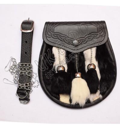 Black-White Rabbit fur with center White tessle Furr tessel