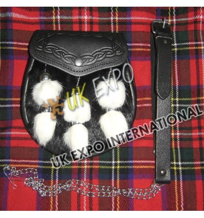 Black Rabbit Fur with 6 White Rabbit Tessels Embossed on Flap