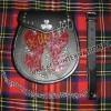 Shamrock Badge of Flap ,Red Color Crocodile Artificial PVC Shine Tribal Celt Sporran