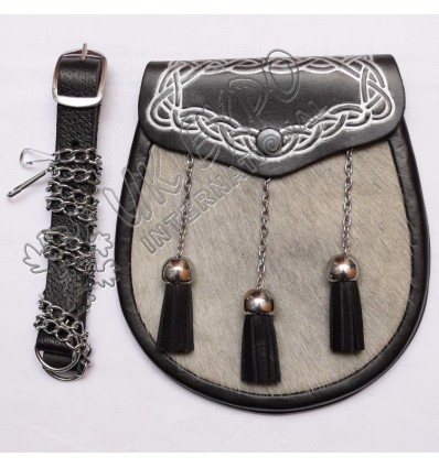 Gray Color Cow Skin with Leather Corner Celtic Embossed with Silver Color Filling on Flap