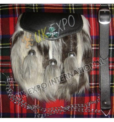 Multi Color Artificial Long Hair Fur with Shamrock On Flap