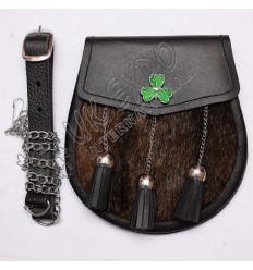 Brown Seal Skin Sporran with 3 Leather Tessels, Shamrock Badge on Flap