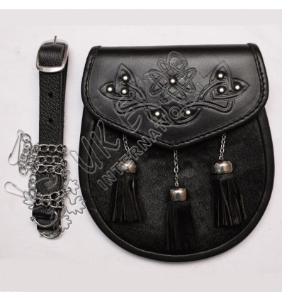 Black Goat Skin with three tessels and celtic scottish flower embossed studs on flap