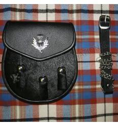 Semi Dress Sporran Black Color coat skin Leather Sporran Thistle on Flap