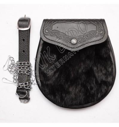 Black Goat Skin and celtic embossed on flap