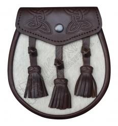 Mens Semi Dress Kilt Sporran Leather Brown & White Bovine Celtic Design Sporrans